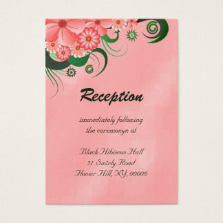 Pink Hibiscus Floral Wedding Enclosure Card