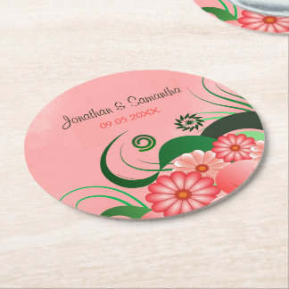 Pink Hibiscus Floral Wedding Round Paper Coasters