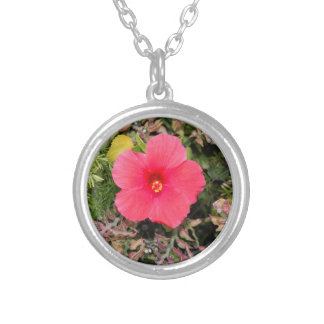 Pink Hibiscus flower necklace