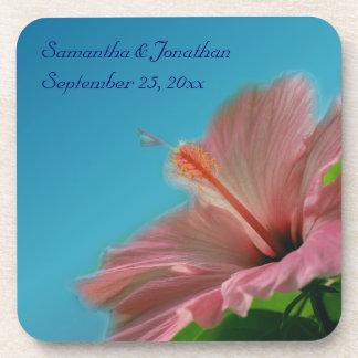 Pink Hibiscus Flower Wedding Coaster Set