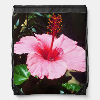 Pink Hibiscus In The Sun Drawstring Bag