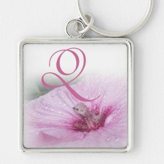Pink Hibiscus~Monogram  Q Silver-Colored Square Key Ring