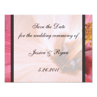 "PInk Hibiscus Save the Date 4.25"" X 5.5"" Invitation Card"