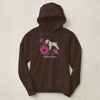 Pink Hibiscus Schnauzer Embroidered Hoodie