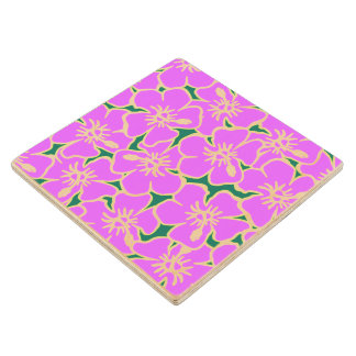 Pink Hibiscus Tropical Flowers Hawaiian Luau Party Wood Coaster
