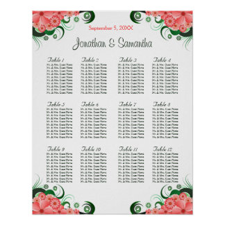 Pink Hibiscus Wedding 12 Tables Seating Charts Poster