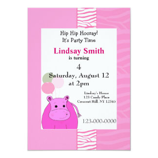 Pink Hippo Party Invitation