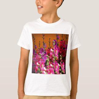 PINK HOLLYHOCK AMBER COLOR GARDEN T-Shirt
