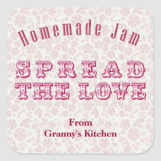 Pink Homemade Jam Personalized Stickers