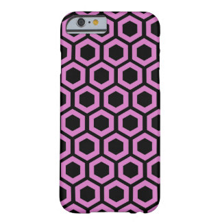 Pink honeycomb pattern on black barely there iPhone 6 case