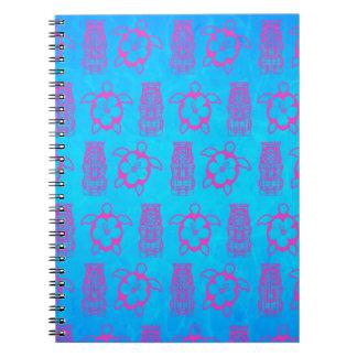 Pink Honu And Tiki Mask Notebook