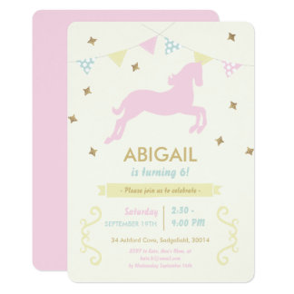Pink Horse Girl's Party Invitation
