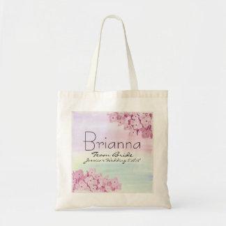 Pink Hydrangea Floral Team Bride Wedding Tote Bag