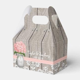 Pink Hydrangea Mason Jar Wedding Favour Gift Box