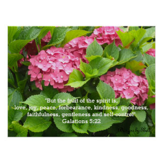 Pink Hydrangeas with Scripture Poster