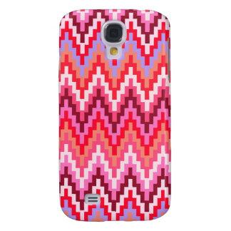 Pink Ikat Chevron Geometric Zig Zag Stripe Pattern Galaxy S4 Case