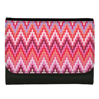 Pink Ikat Chevron Geometric Zig Zag Stripe Pattern Wallets