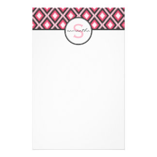 Pink Ikat Monogram Stationery