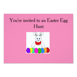 Pink invitations with the Easter Bunny/ Eggs