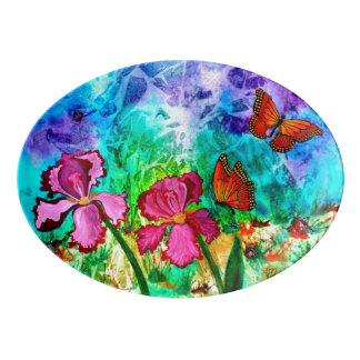 Pink Iris Serving Platter