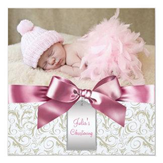Pink Ivory Swirls Baby Girl Photo Christening Card