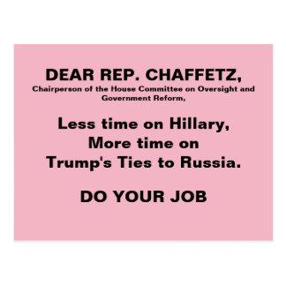 Pink Jason Chaffetz Trump Russia Protest Resist Postcard