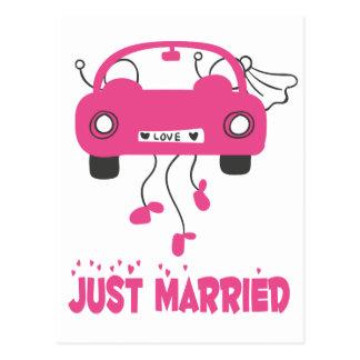 Pink Just Married Bride Groom Wedding Announcement Postcard