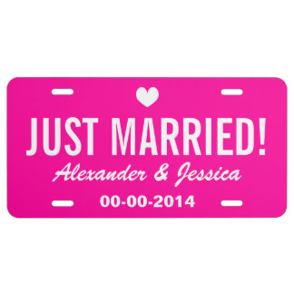 Pink Just married license plate for wedding car License Plate
