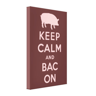 Pink keep calm and bacon canvas print