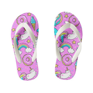 Pink Kitschy glittery funny unicorn and kitty Kid's Jandals