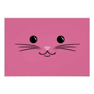 Pink Kitty Cat Cute Animal Face Design Poster