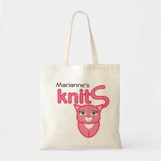 pink kitty KNITTING SUPPLIES gift tote Canvas Bags