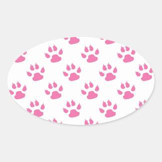 Pink kitty paw print patter oval sticker