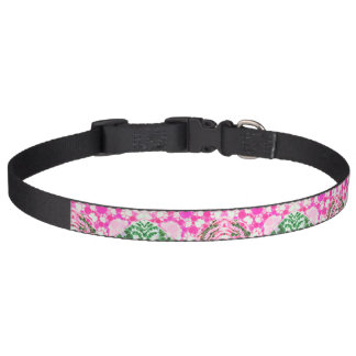 Pink Kitty Paws Zebra Abstract Dog Collar