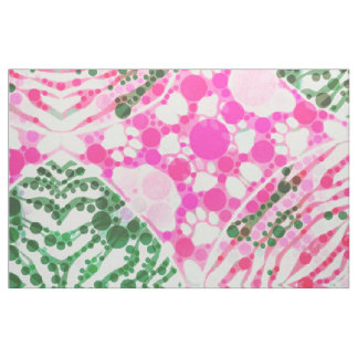 Pink Kitty Paws Zebra Abstract Fabric