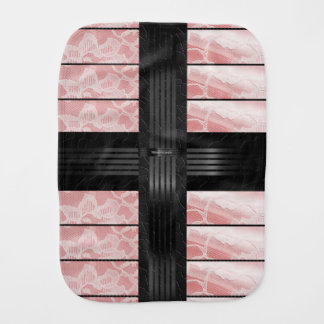 Pink Lace Black Stripe Burp Cloth