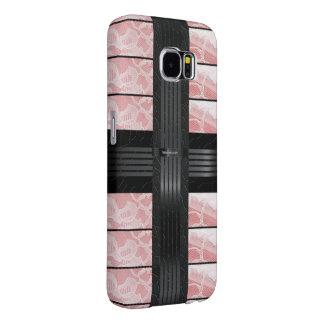 Pink Lace Black Stripe Samsung Galaxy S6 Cases