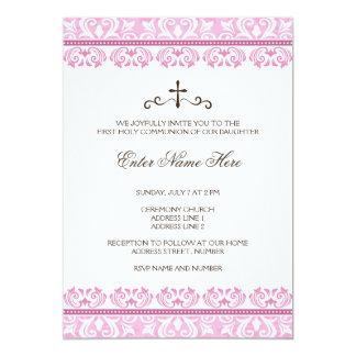 Pink lace girls first communion invitation