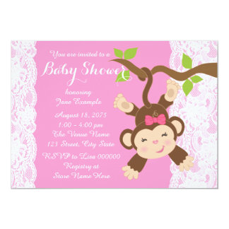 Pink Lace Monkey Baby Girl Shower Card
