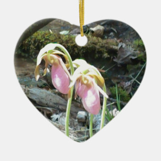 Pink Lady slipper orchid Ceramic Heart Decoration