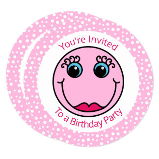 Pink Lady Smiley Face Birthday Party Invitation