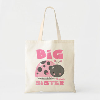Pink Ladybug Big Sister Tote Bag