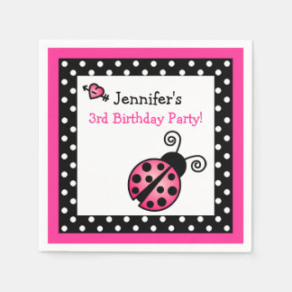 Pink Ladybug Birthday - Black and White Polka Dots Disposable Napkins