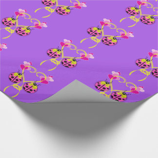Pink Ladybug Yellow Ribbon Wrapping Paper