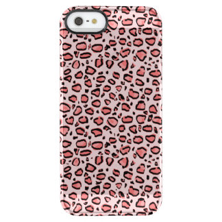 Pink Leopard Animal Print Pattern Clear iPhone SE/5/5s Case