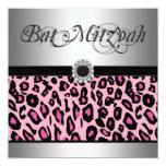 Pink Leopard Bat Mitzvah Invitations