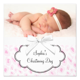 Pink Leopard Girl Photo Christening Card