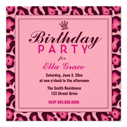 Pink Leopard Invitation