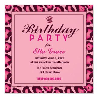 Pink Leopard Invitation