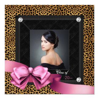 Pink Leopard Photo Graduation Announcements